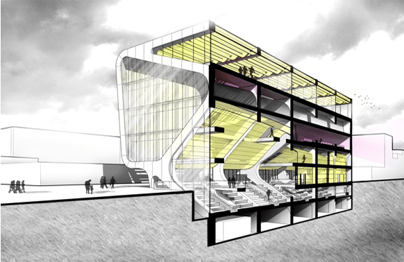 Section cut rendering of a building with yellowish interior and purple accents. Grey sky surrounding. Arch 534-Poerschke-McKenna-2016