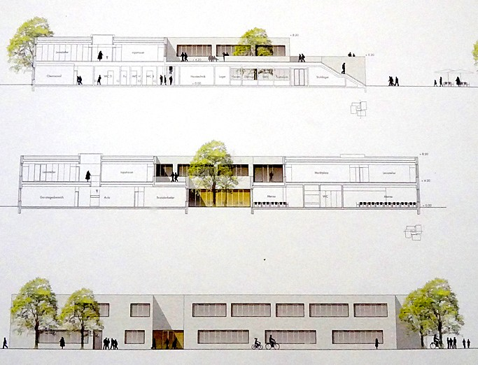 Exterior views of a building diagram model printed on textured paper.