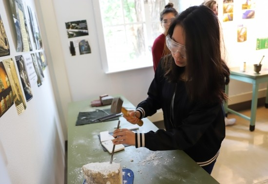 Student participating in the Borland Project Space