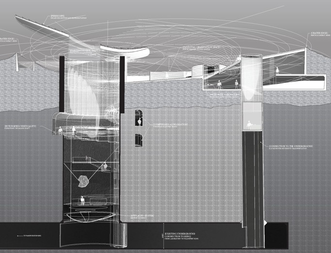 Complex grayscale architectural design section by MS in Architecture student.