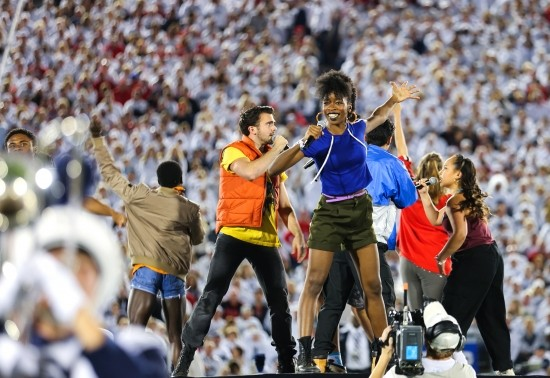 Musical Theatre students performing the halftime show at Beaver Stadium.