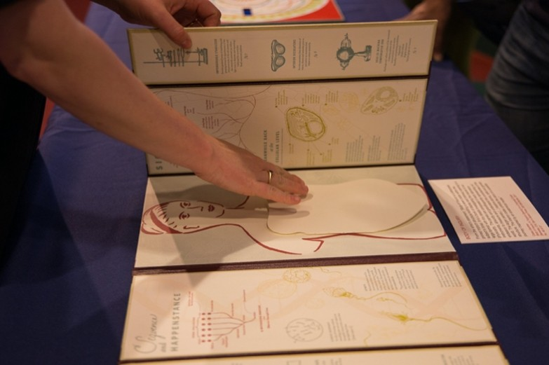 A hand touching health-related illustrations and paper cut-outs in an art display.