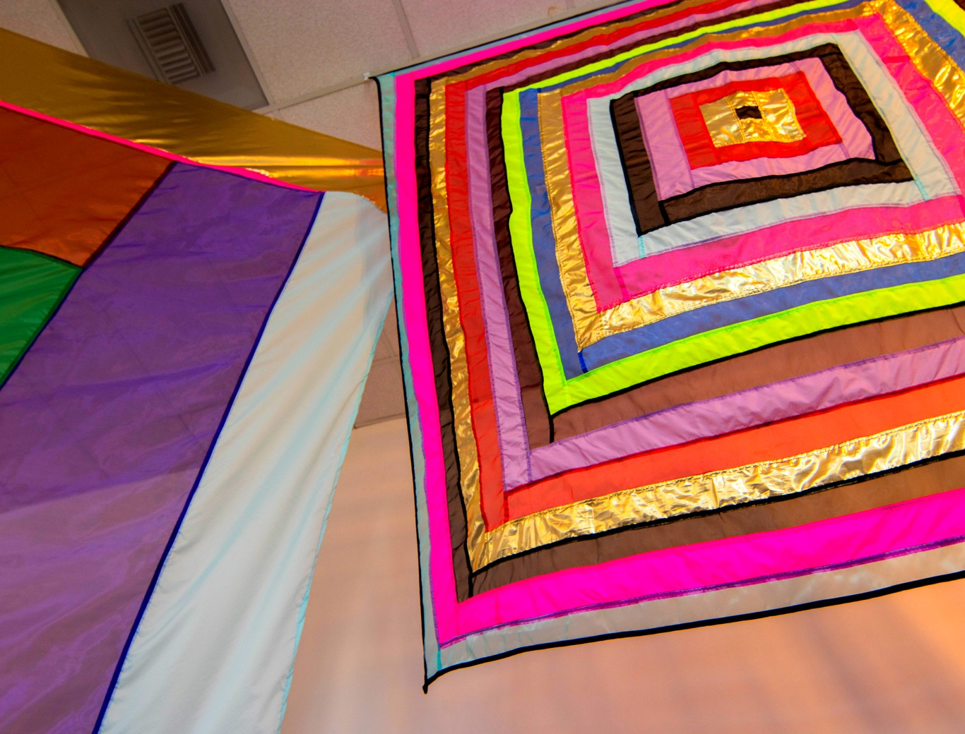 SYZYGY, an installation of colorful fabric structures by nationally recognized artist RACHEL HAYES