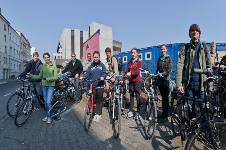 Landscape architecture students on bicycles in Bonn
