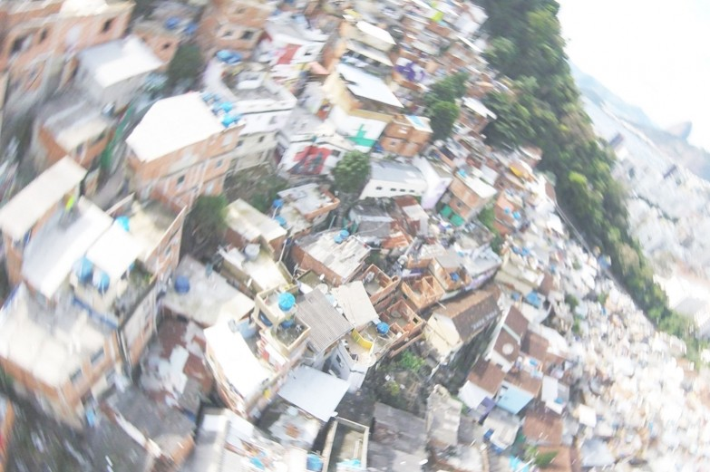 Overhead view of favelas in Rio