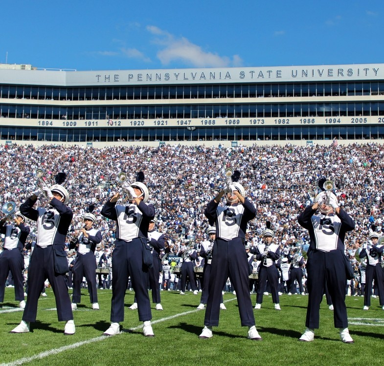 The blue band performing during halftime for Penn State Homecoming.