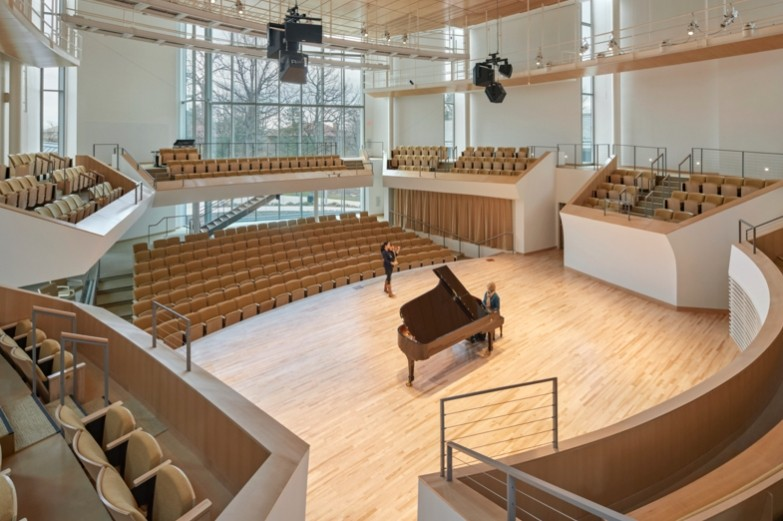 Overhead view of grand piano on Esber Recital Hall stage.