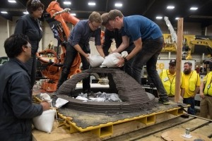 Penn State NASA team adding test weights to printed concrete dome structure