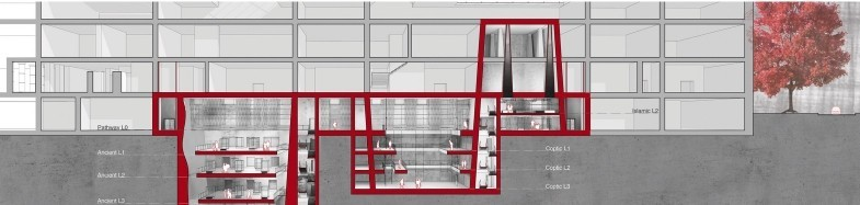 Technical line drawing of building, showing numerous internal architectural spaces.