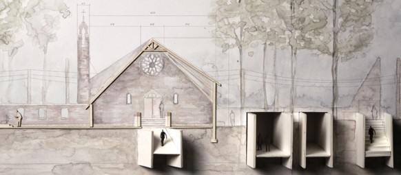 Chapel model concept created by third year Master of Architecture student Hannah Breidenbaugh.
