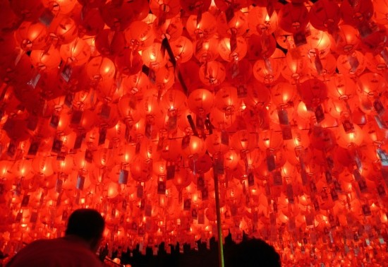 Hundreds of red lanterns overhead in the Doseonsa temple in Seoul, South Korea.