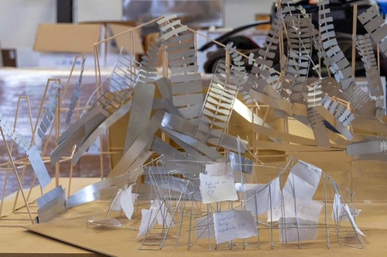 Architecutural model of a metal stuctural wall.