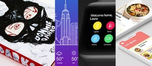 Collage of graphic design student work: book cover design; weather app; watch app; mobile website.