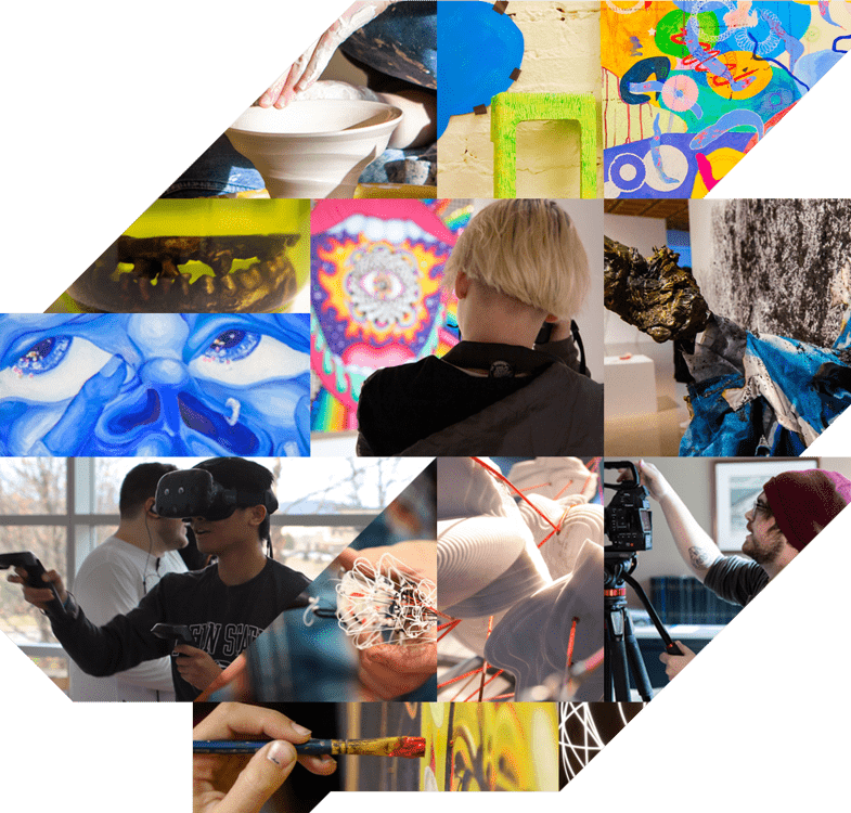 Collage of a variety of student work and student participation in the array of opportunities from the School of Visual Arts.