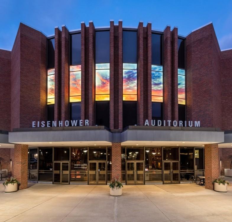 Beautiful exterior shot of Eisenhower Auditorium at dusk photographed by Amirmasoud Agharebparast.
