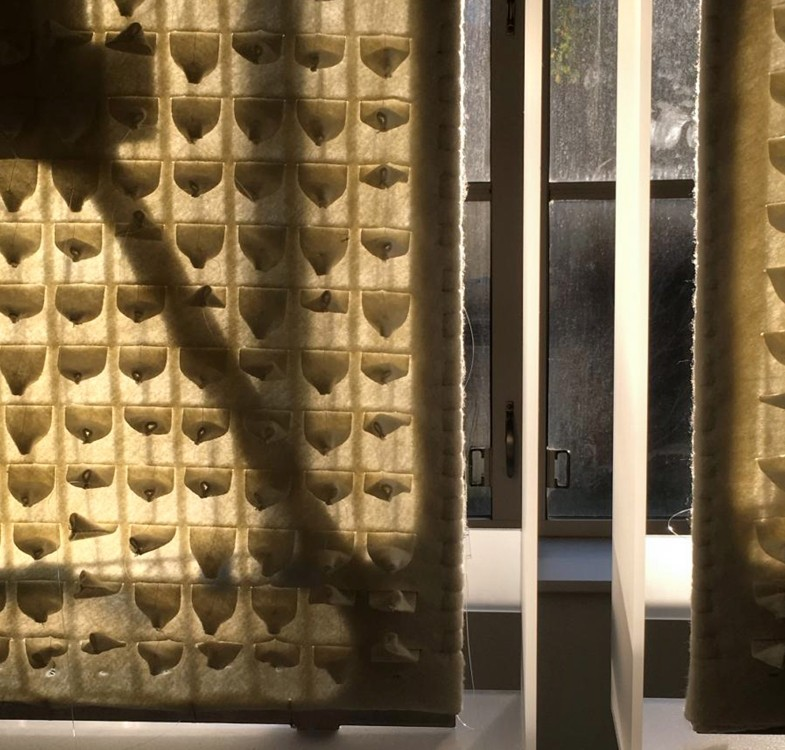 Panels of textured felt hanging in front of a glass window.