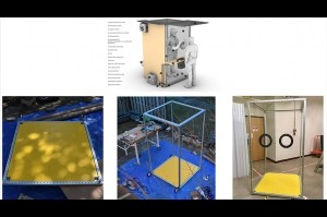 A collage of four images with the CAD rendering for the booth above and three project images below.