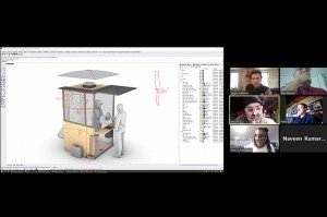 A split-screen image of the CAD rendering of the BOOTH at left and the researchers discussing the design via Zoom at right.