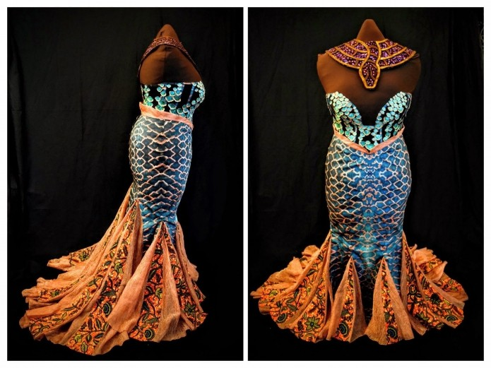 William Young's African 'Mami Wata.' The costume is comprised of a mermaid skirt with inset godets, a sheer corset with hand-painted scales, and a tooled leather collar overlaying a fabric base.