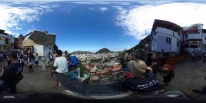 360 degree photo of visiting Stuckeman students in the favela.