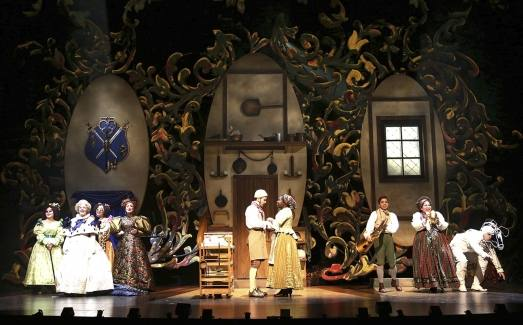 Into the Woods production photo showing set elements