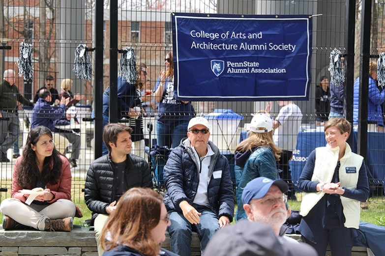 College of Arts and Architecture blue white tailgate in front of the Stuckeman School during blue white weekend.