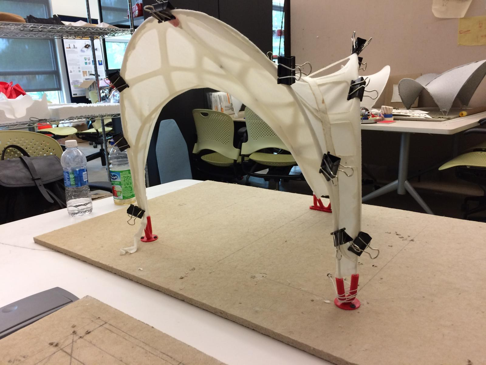 Photo of a Solar Fiber Tension Structure Shade Prototype.