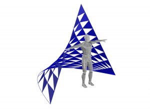 Computer-generated three-quarter-view image of a person standing in front of sail dancing sculpture