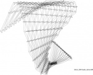 Computer-generated black and white graphic of the fabric's weave.