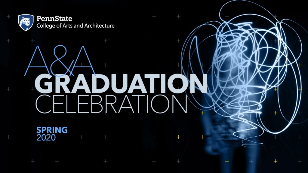 Arts and Architecture Spring 2020 graduation celebration event poster featuring ethereal, swirling light painting images