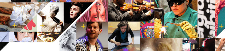 Collage of cropped images showing A&A students acting, performing, building, designing, singing, and playing instruments.