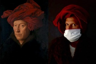 Recreation of a famous medieval portrait displayed side-by-side, images are each a close-up of a man with a black backdrop wearing a scarlet turban, the recreation has the man in a COVID-19 mask