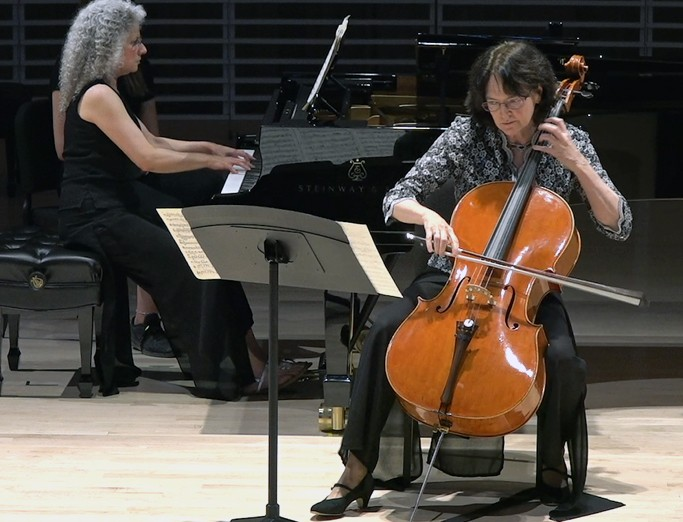 A cellist and a pianist perform on stage in the Penn State Recital Hall as part of the 2019 Penn's Woods Music Festival.