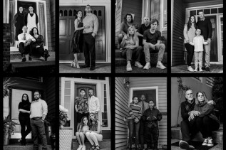 Black and white collage of family portraits taken on each family's front porch during the shelter-in-place orders.