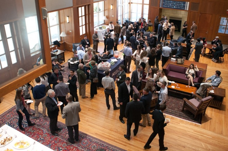 Overhead view of alumni association reception at the Hintz Alumni Center on the Penn State university Park campus