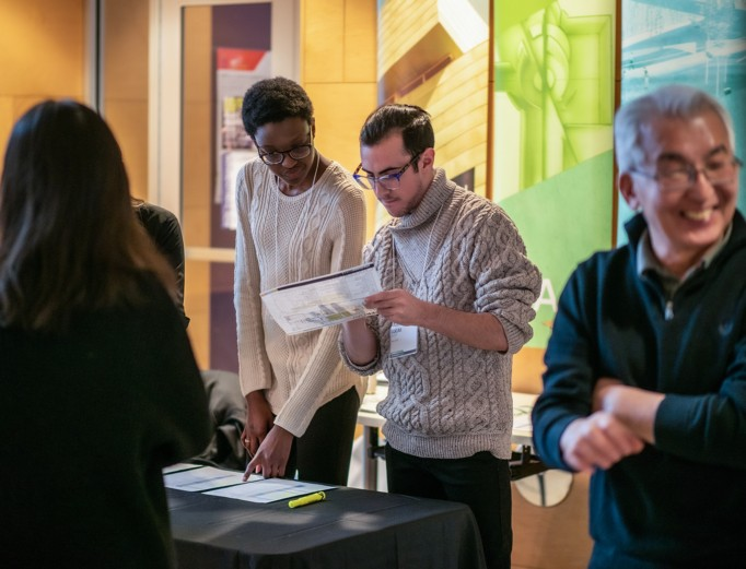Students and faculty gather during a past Stuckeman School Career Day.