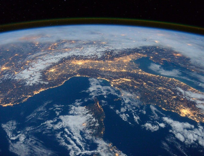 View of lights across Earth, viewed from the International Space Station.