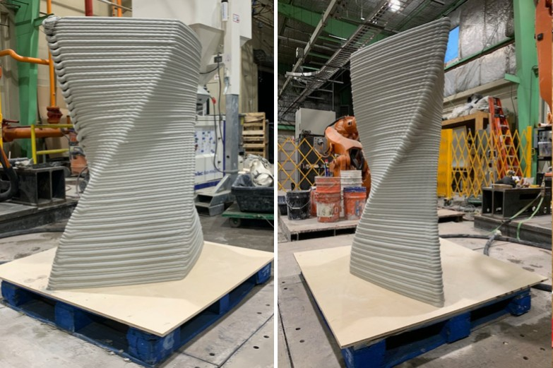 Two views of highly articulated, curving concrete form 3d-printed by specialized industrial CNC robot.