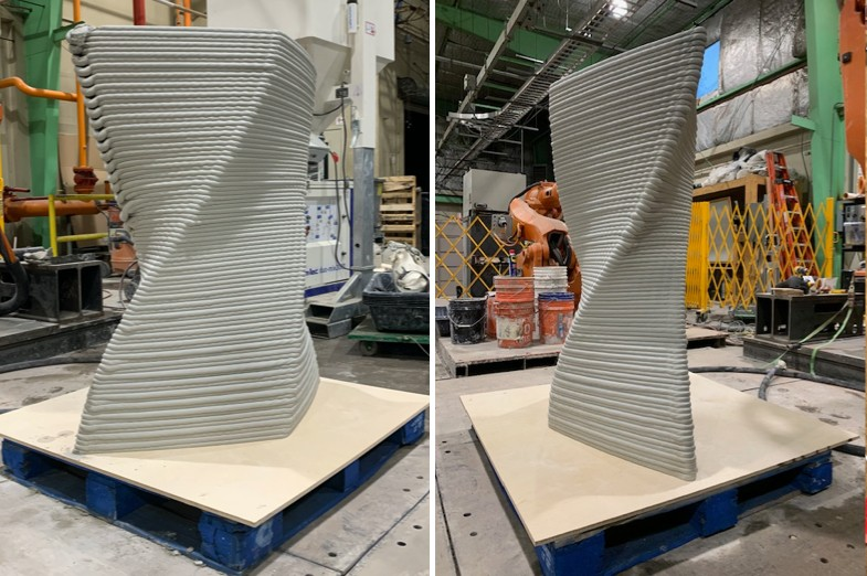 Two views of 3d-printed concrete twisted column, Additive Manufacturing of Concrete Structures. Student: Harrison Lawrence; faculty: Jose Duarte, Shadi Nazarian.