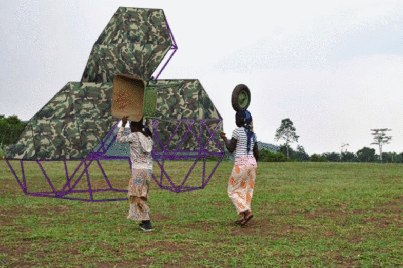 Computer rendering of two African women carrying a Fufuzela – deployable low-cost bamboo structure
