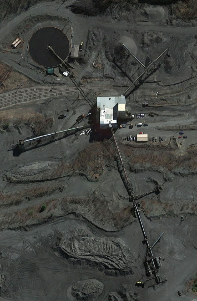 Aerial view of an operating open-pit anthracite mine. Leigh Anthracite Corporation. Tamaqua, Schuylkill County, Pennsylvania.