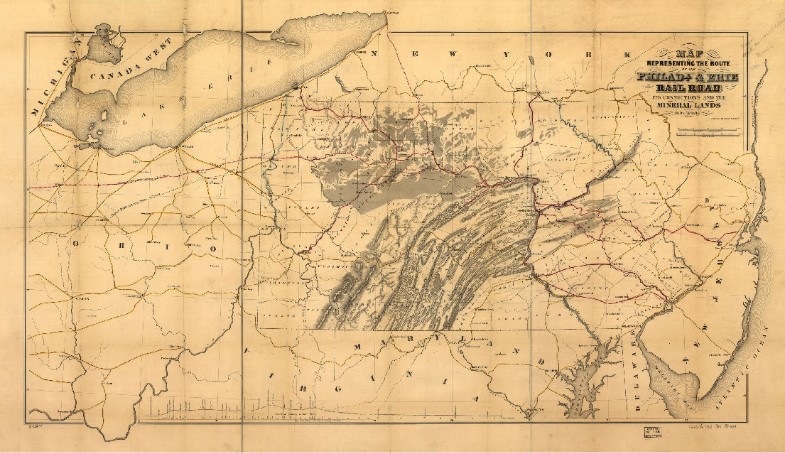 Map of the Philadelphia and Eire Railroad and its Connection to the Mineral Lands, 1852. Library of Congress.
