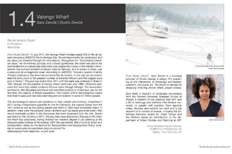 Design board with descriptive text and a computer rendering of the 'Valango Wharf' project by Studio Zwede. Image Credit: Studio Zewde