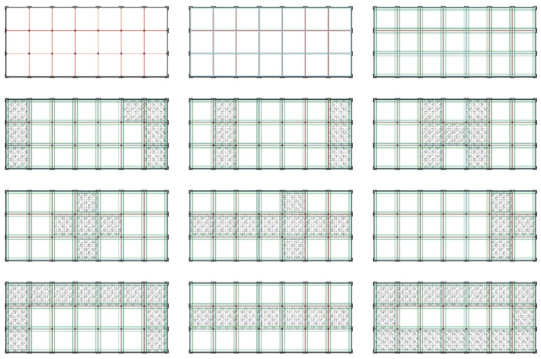 Grid of 12 Rule-Based Structural Labeling and Circulation Analysis diagrams