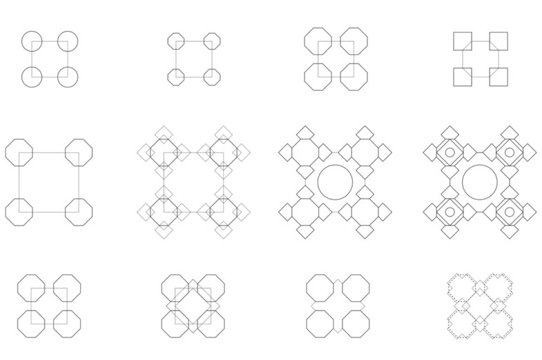 Grid of 12 Coordinate Unit Arrangements representing simple to complex architectural floorplans.