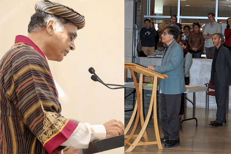 Split screen of Jawaid Haider in regalia and at a podium in the Stuckeman Family Building Jury Space.