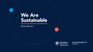 """Dark blue background with """"We Are Sustainable with Alumni"""" white text"""