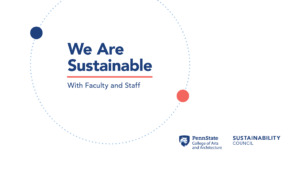 White background with navy blue We Are Sustainable with Faculty and Staff text