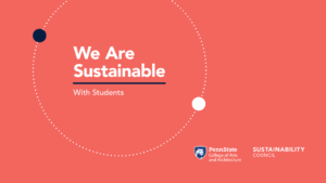 Coral pink background with white We Are Sustainable with Students text