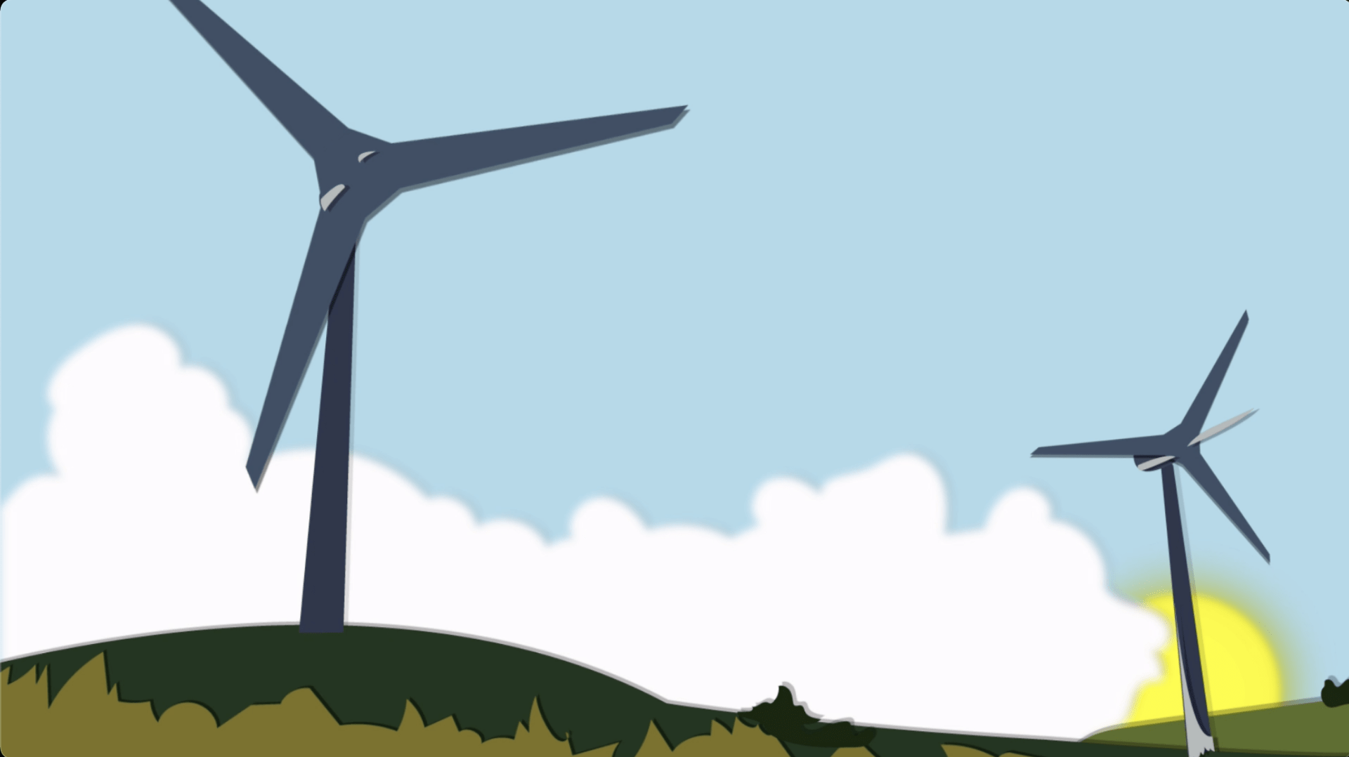 Screenshot of an animated landscape with two wind turbines.